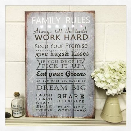 Large Family Rules Led Sign